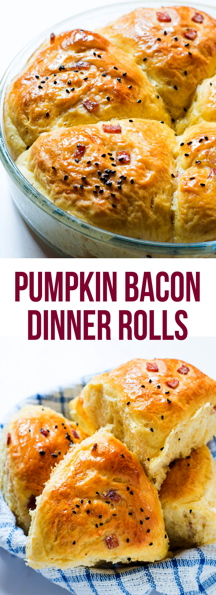 soft pumpkin bacon dinner rolls pin