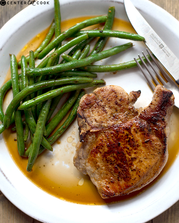 pan roasted pork chops ginger green beans 2