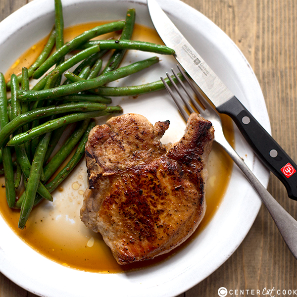pan roasted pork chops ginger green beans 3