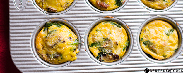 mushroom spinach  bacon egg muffins 1
