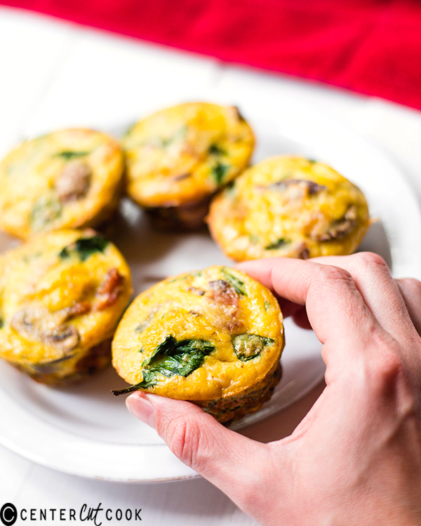 mushroom spinach bacon egg muffins 2
