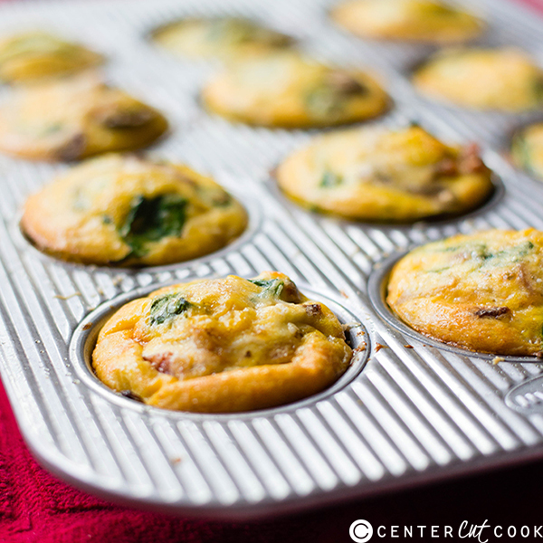 mushroom spinach  bacon egg muffins 3