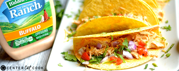 slow cooker buffalo ranch chicken tacos 1