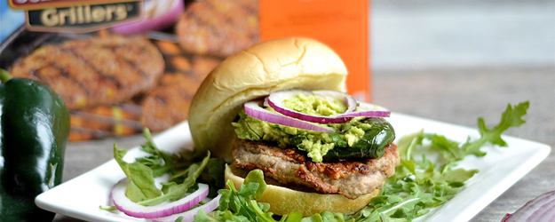 Grilled Sausage Burgers with Poblano Peppers