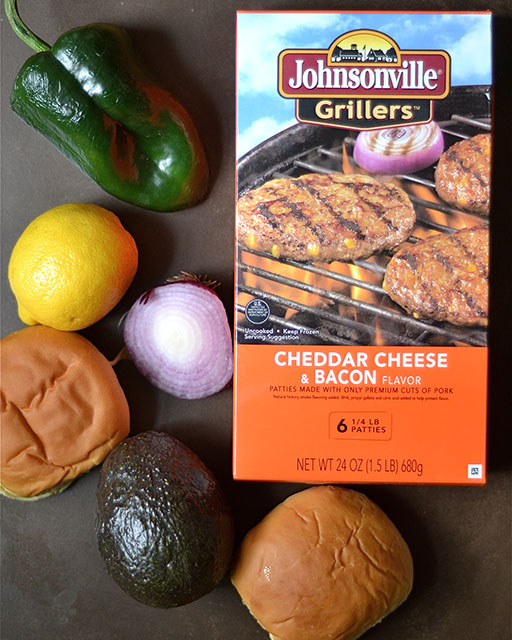 grilled sausage burgers poblano peppers 2
