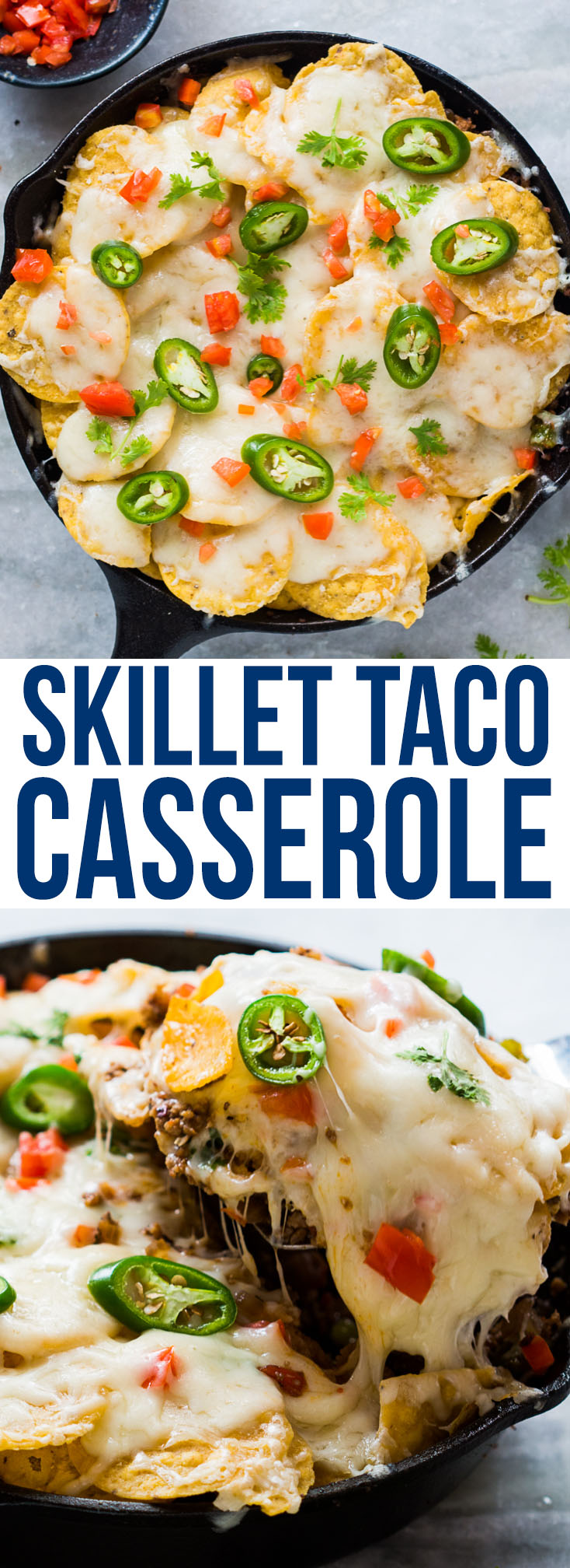skillet beef taco casserole pin