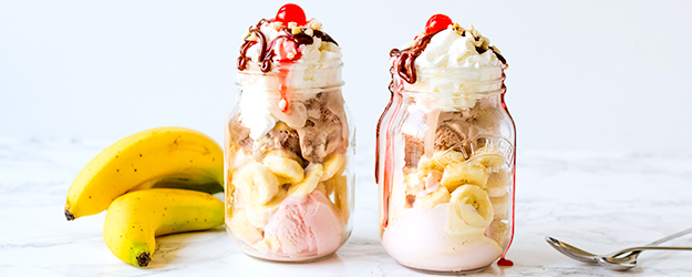 Mason Jar Banana Split