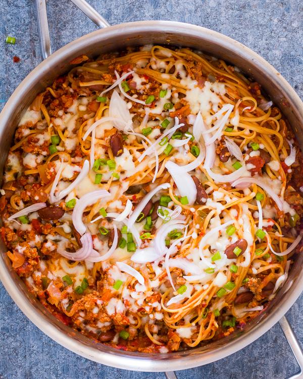 One Pot Chili Pasta Skillet Recipe