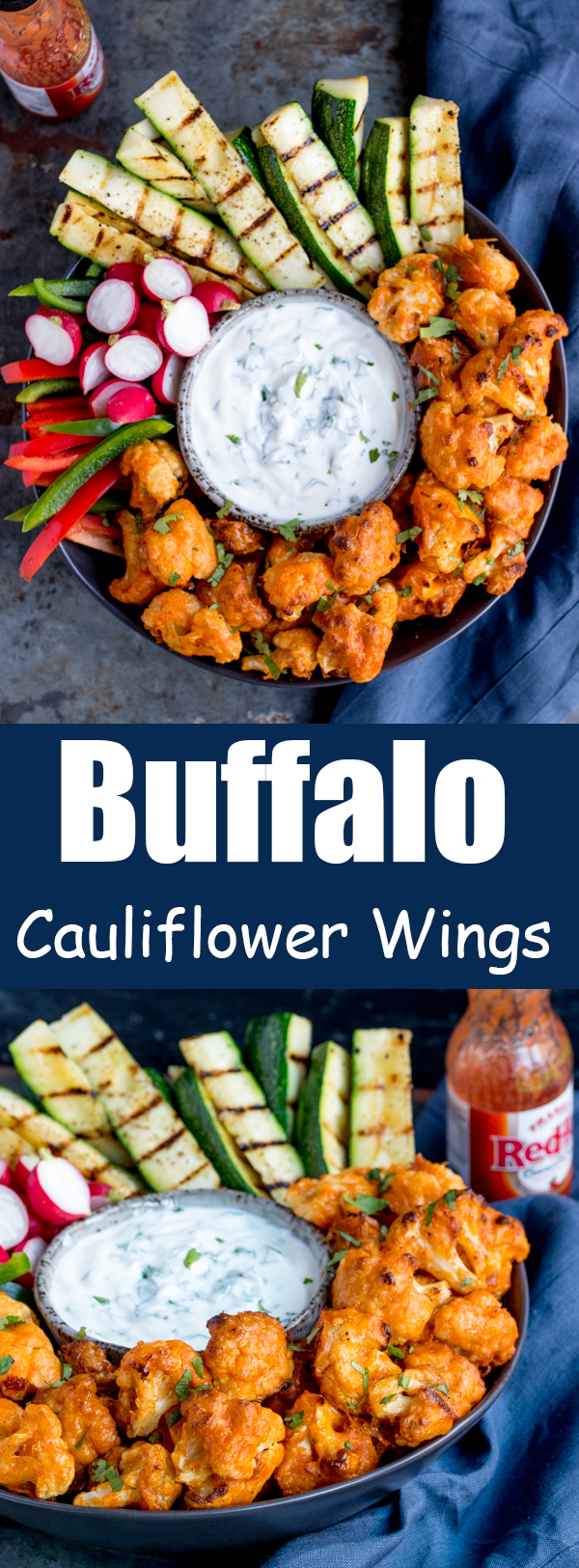 baked buffalo cauliflower wings pin