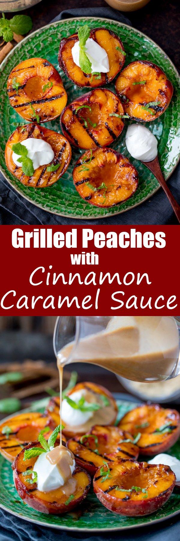 cinnamon grilled peaches cinnamon caramel sauce pin