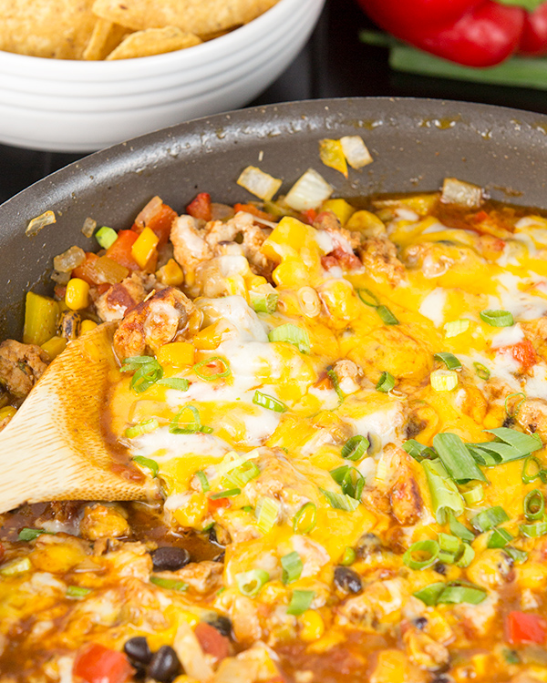 one pot cheesy turkey taco skillet 3