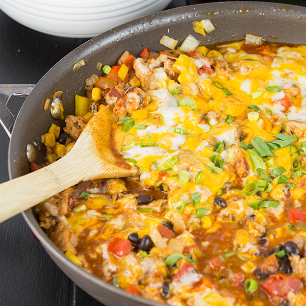 one pot cheesy turkey taco skillet 7