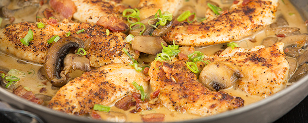 One Skillet Chicken Bacon and Mushrooms in Parmesan Cream Sauce