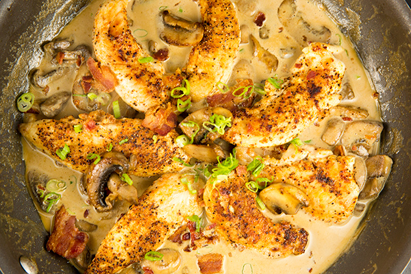 one skillet chicken bacon mushrooms in parmesan cream sauce 3