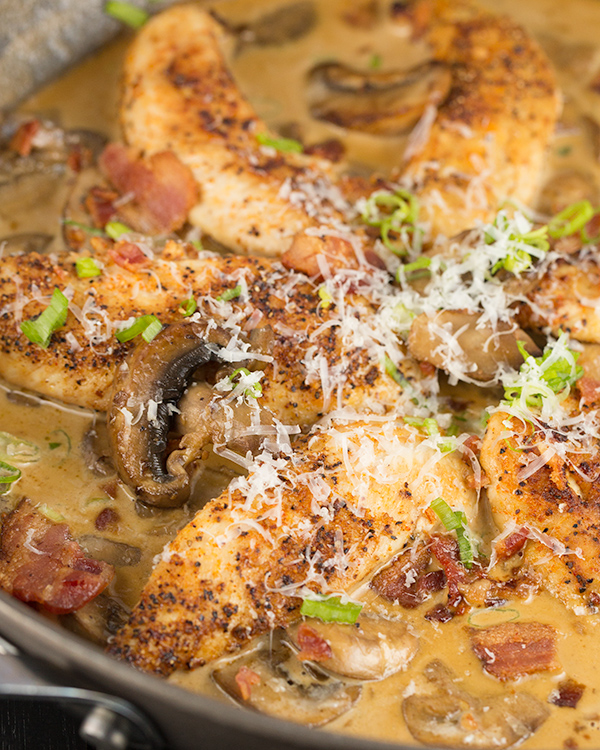 one skillet chicken bacon mushrooms in parmesan cream sauce 4