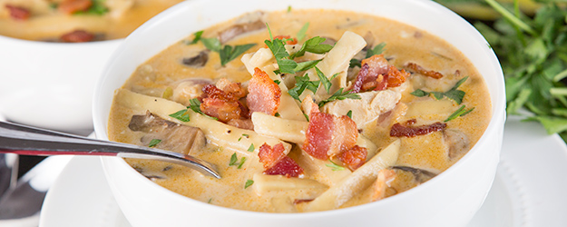Creamy Chicken Bacon Noodle Soup