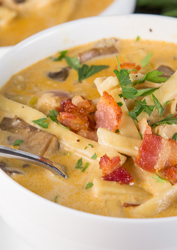 creamy chicken bacon noodle soup 4
