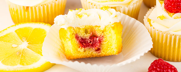 Lemon Cupcakes with Raspberry Jam Filling