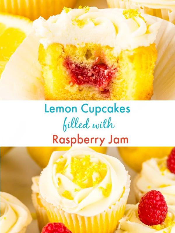 lemon cupcakes raspberry jam filling 2