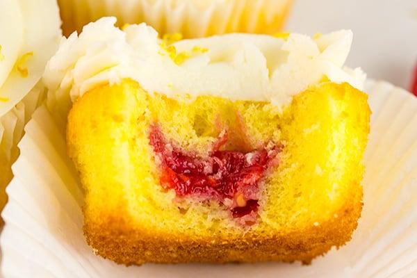 lemon cupcakes raspberry jam filling 4